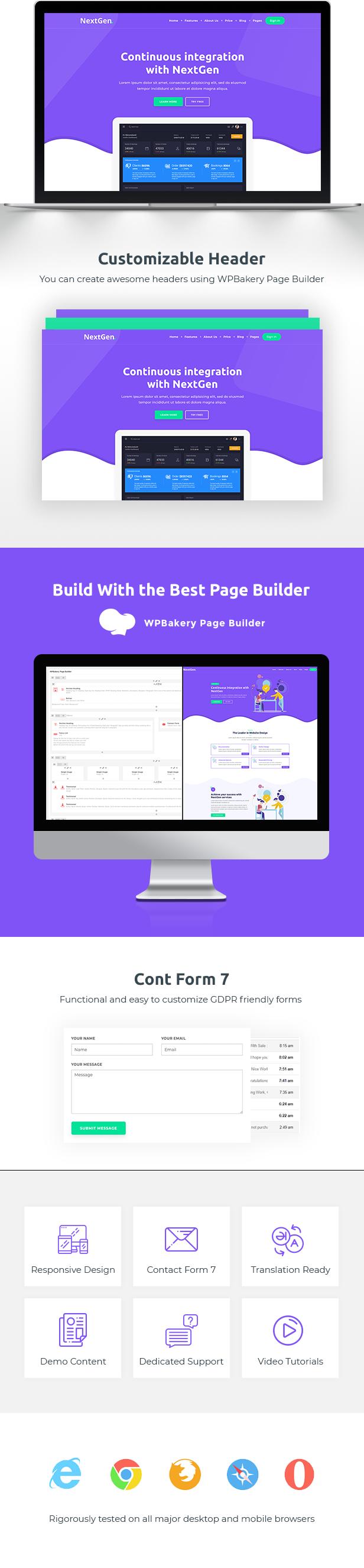 NextGen WordPress Theme SaaS Startup WebApp Modern Create Landing Page